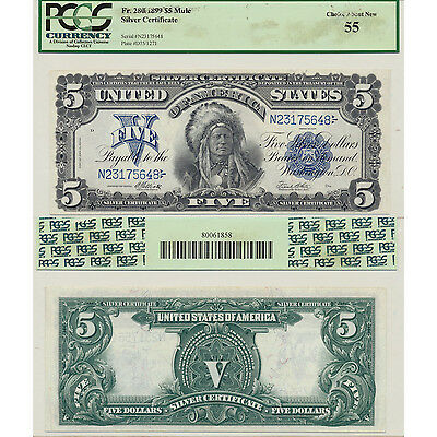 1899 Indian Chief $5 Fr#280 Mule Silver Cert PCGS Currency Choice About New 55