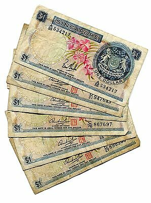 Lot Of 6 Singapore Board Of Commissioners Currency 1 Dollar Notes P1a,d #29169