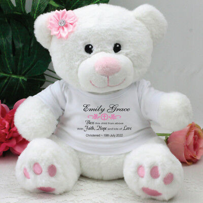 Personalised Christening Pink Teddy Bear - Verse - Add a Name & Message