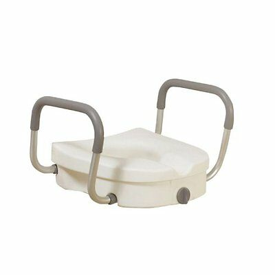 Drive Medical Raised Toilet Seat with Tool Free Removable Padded Arms, White
