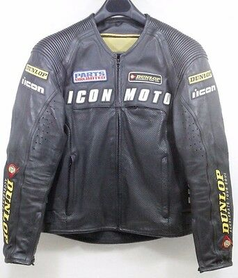 Icon Automag Factory Leather Padded Jacket Dunlop Size - MD