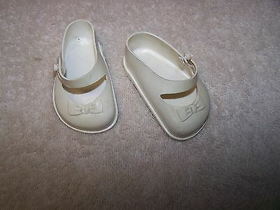 """Vintage Pair Of Original Ideal 22"""" Saucy Walker White Doll Shoes"""