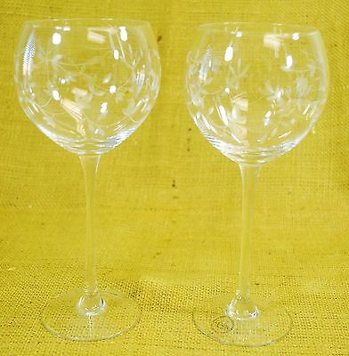 *Pair* Lenox Crystal Clear Heather Balloon Red Wine Glasses Goblets - Cut Vine