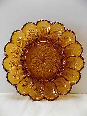 Indiana Glass Amber Deviled Egg Plate  (t4-4)