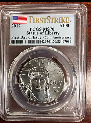 2017 $100 American Platinum Eagle Pcgs Ms70 Flag First Strike First Day Of Issue