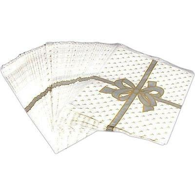 """Paper Gift Bags White & Silver Color Bow 11"""" 100Pcs"""