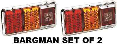 Bargman Set Of 2 (Two) Red & Amber Led Trailer Taillight - Incandescent Backup