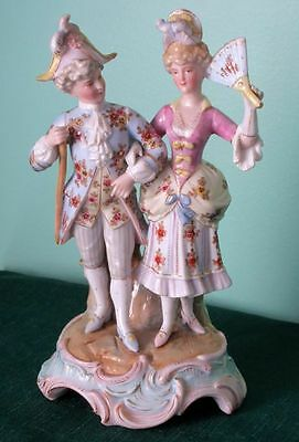 Sitzendorf Antique Courting Pair Porcelain Hand Painted Figurine Signed, 1880s