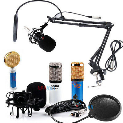 Condenser Microphone Mic Studio Sound Guaranteed W/Boom Pop Filter And Arm Stand