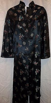 Vintage Chinese S Black Robe Dressing Gown Oriental Hong Kong Pearl of Asia EUC