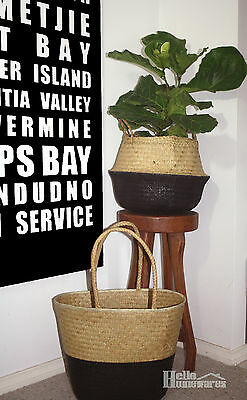 Seagrass Belly Basket / Bag Dipped Foldable Black  Natural Grass - Small