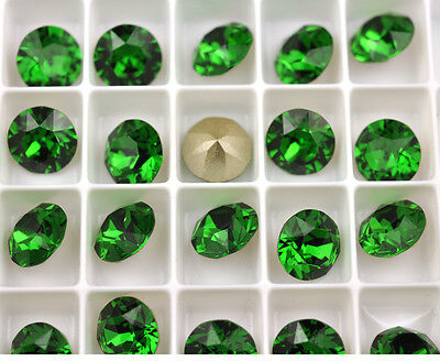 12 Dark Moss Green 1088 Swarovski Crystal Chaton Stone SS39 Foiled 8MM