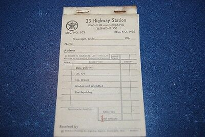 Vintage 1960's Texaco 33 Highway Station Gas Receipt Book Drumright, Okla.