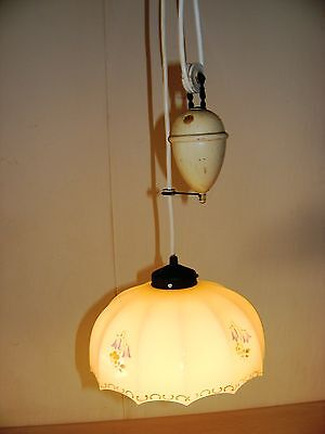 Kitchen lamp, Glas Hanging lamp, Floral motif, adjustable Weight, Art nouveau