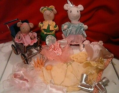 American Girl Angelina Ballerina Lot Ice Skater, Jester, Baby With Carriage