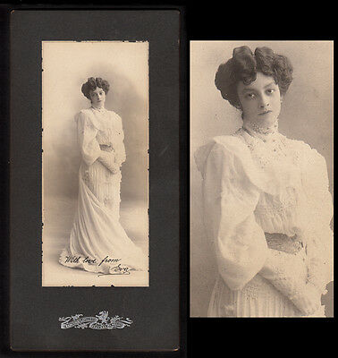 GORGEOUS MEXICAN WOMAN in WHITE GOWN~ 1910s VINTAGE MEXICO PHOTO & LOVE LETTER