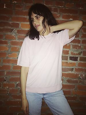 Vintage Terrycloth Sweatshirt Top Womens Pink Short Sleeve (1160)