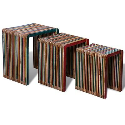 Set of 3 Nesting Table Bedside Side Lounge Coffee Table Colourful Reclaimed Teak