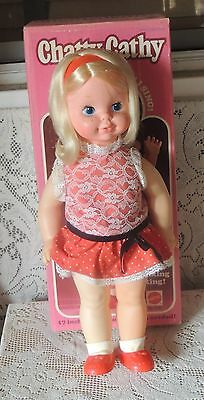 Vintage 1970's Mattel Chatty Cathy Re-Issue Talking Doll w Org. Box-Minty Look
