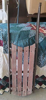 Antique Sled Red Wood With Steel Runners