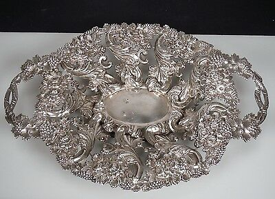 1857 Antique Austria Ornate Silver Centerpiece Bowl 395grams