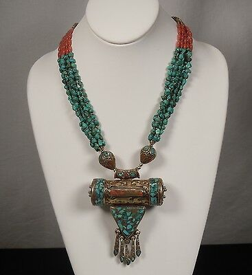 Tibetan Brass Turquoise & Coral Necklace