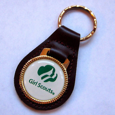 Girl Scout 1990's LEATHER KEY RING CHAIN  Keychain Fob Leader Appreciation Gift