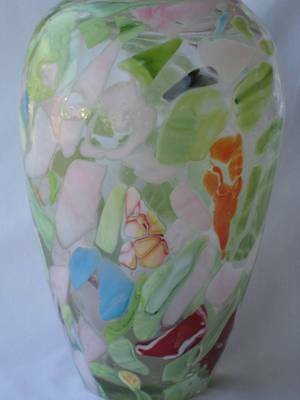 Beautiful Two's Company Art Glass End Of Day Style Hand Blown Vase! Multi Color!