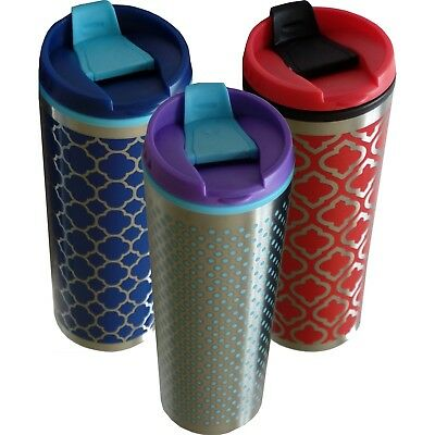 Travel Mug Coffee Cup Insulated Thermos Mugs Stainless Steel Silver 500ml New