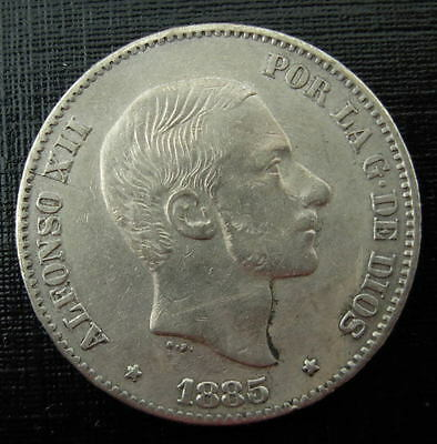 Philippines Spanish 1885 Silver 50 Centimos XF - AU Alfonso XII