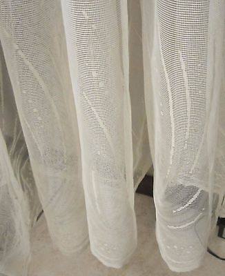Vintage German White Embroidered Netting Lace Curtain 116 X 72