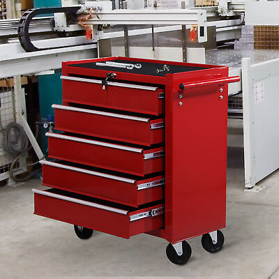 Chariot d'atelier Servante à outils 5 tiroirs tools chest rouge neuf 04