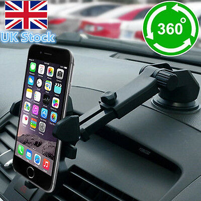 Car 360° Universal Windshield Mount Holder Stand For iPhone Phone GPS Truck UK