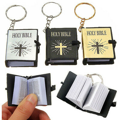 Cool Mini English HOLY BIBLE Keychains Religious Christian Jesus Cross Keyrings