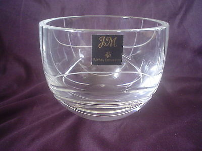 Royal Doulton Art Glass Bowl Etched Design Extremely Solid 3.5kgs With Label