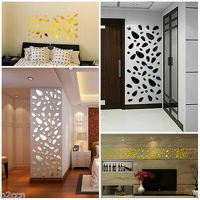 12Pcs 3D DIY Mirror Acrylic Removable Art Mural Wall Stickers Decal Home Decor