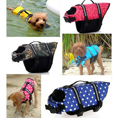 Pet Dog Life Jacket Swimming Float Vest Adjustable Buoyancy Aid Blue M