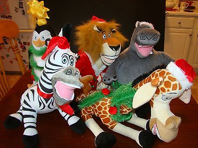 Madagascar Christmas Plush - Five Fantastic Friends - Alex, Skipper, Gloria, and