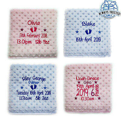 Personalised Baby Blanket Embroidered Luxury Bubble Feel Blue Pink Boy Girl Gift