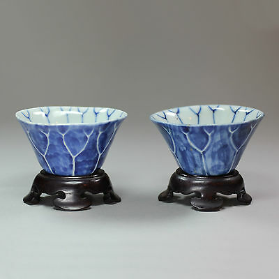 Antique Pair of Chinese Porcelain blue and white lotus cups, 18th century