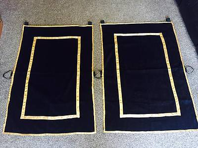 Pair of Black and Gold Funeral Drapes/Modesty Cloths for Driving Horses