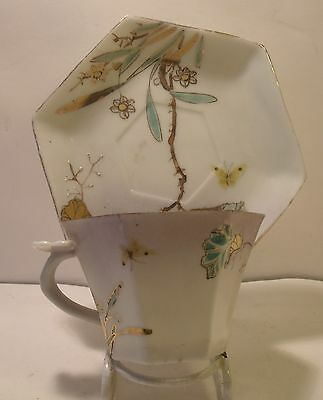 Japanese Antique Hexagonal Cup And Saucer (Unusual Handle)