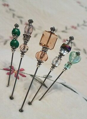 5 Antique Inspired Victorian Hat Pins Vintage Lampwork Beads Clutch Included