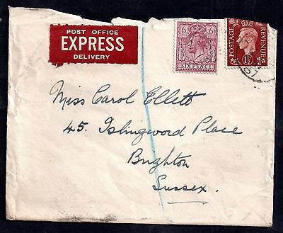 GB KGVI 1937 6d & 1 1/2d on cover Express Delivery label WS3224