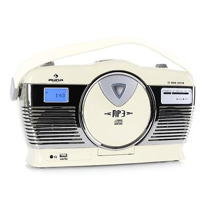 Portables Mp3 Cd Ukw Kofferradio Usb Player Lcd Uhr Vintage Retrolook Creme