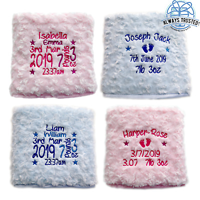 Personalised Luxury Baby Blanket Embroidered Soft Fluffy Blue Pink Boy Girl Gift