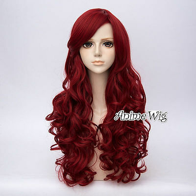 Lolita Wine Red Long 65CM Curly Fashion Party Cosplay Wig+Wig Cap