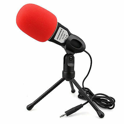 Professional Condenser Sound Microphone With Stand for PC Laptop Skype Black NEW