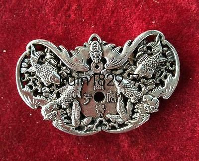 China Decorated Wonderful Miao Silver Carving Lucky fish Pendant LQQ183