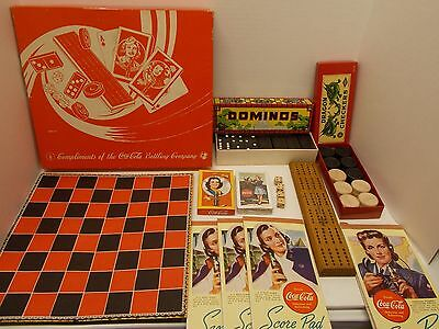 Vintage COCA~COLA Game Set~ Dominos/ Checkers/ Cribbage/ Dice/ Score Pads~ca40s